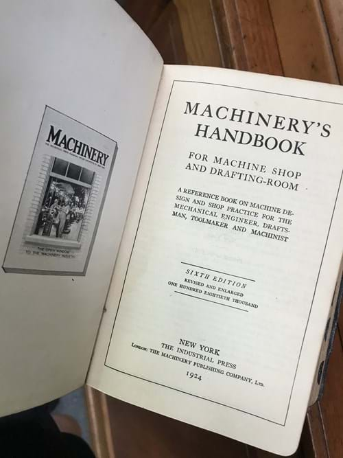 LOT 287	~	1924 Machinerys Handbook - for machine shop & drafting room