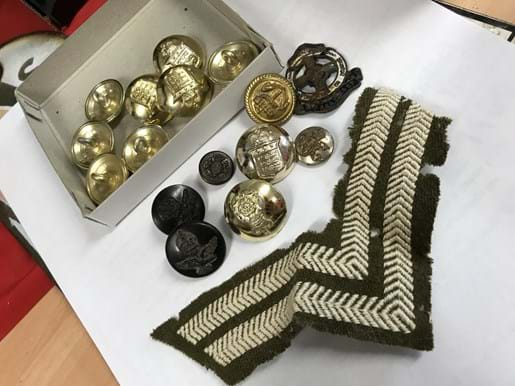 LOT 20	~	Military Buttons, Badge, Stripes