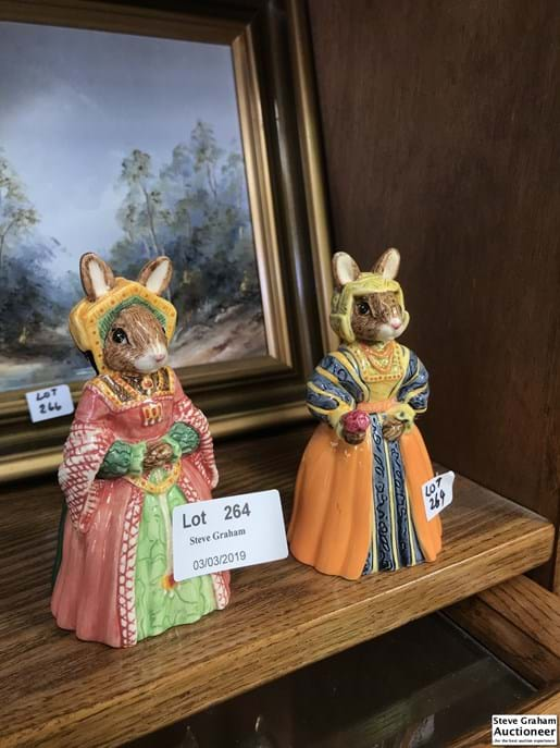 "LOT 264	~	2 Royal Doulton Bunnykins Figures - ""The Tudor Collection"" Jane Seymour (DB308) Anne of Cleves (DB309)"