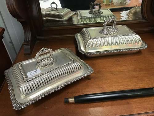 LOT 293	~	Pr of Elaborate Silverplated Vegetable Dishes