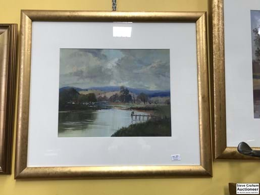 "LOT 274	~	Wykham Perry Oil on Board ""Fishing From The Pier"""