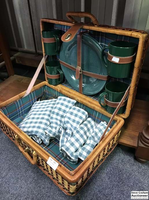 LOT 331	~	Cane Picnic Basket - Setting for 4