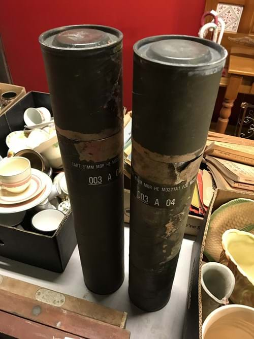 LOT 36	~	2 x 81mm Military Canisters