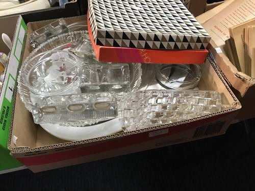 LOT 4	~	Box of China, Glass, Platters