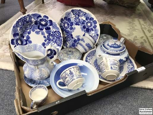 LOT 344	~	Box of Old Blue & White China