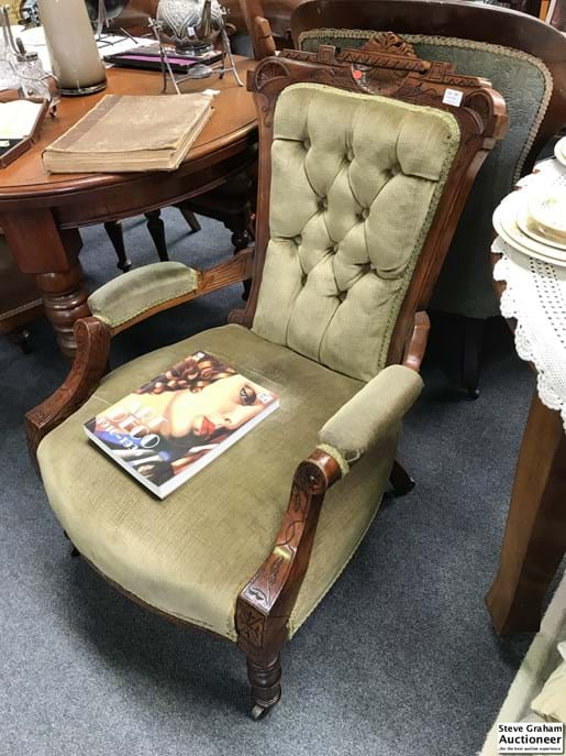 LOT 351	~	Edwardian  Green Upholstered Parlour Chair