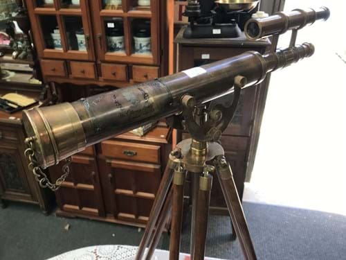 LOT 319	~	Brass Telescope on Wooden Tripod