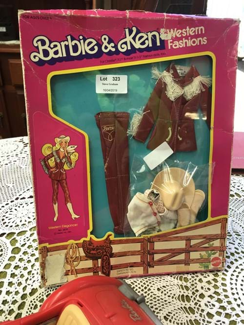 LOT 323	~	Barbie & Ken Western Fashions in Orig Box w Extras