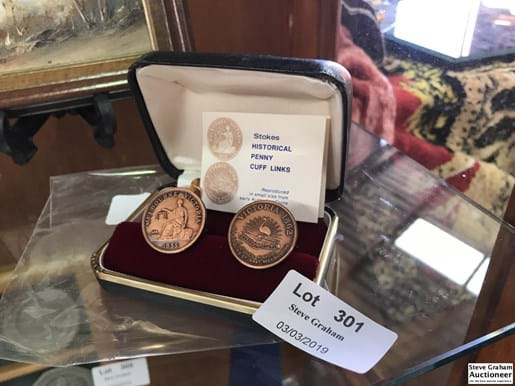 LOT 301	~	Pr of Stokes Historical Penny Cufflinks