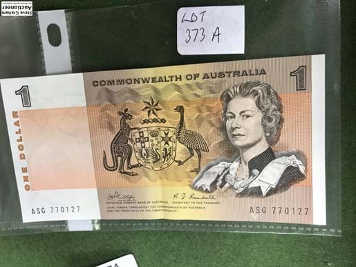 LOT 373A	~	1969 Commonwealth of Australia $1 Bank Note Phillips / Randall ASG770127
