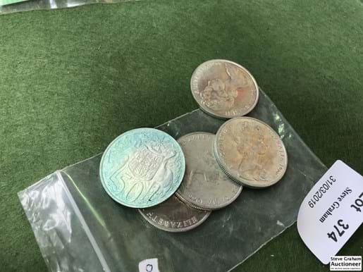 LOT 374	~	5 x 1966 Round 50 Cent Coins