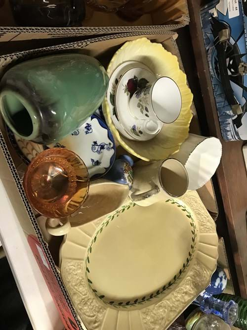 LOT 42	~	Box of China Platters, Jugs, Vase etc