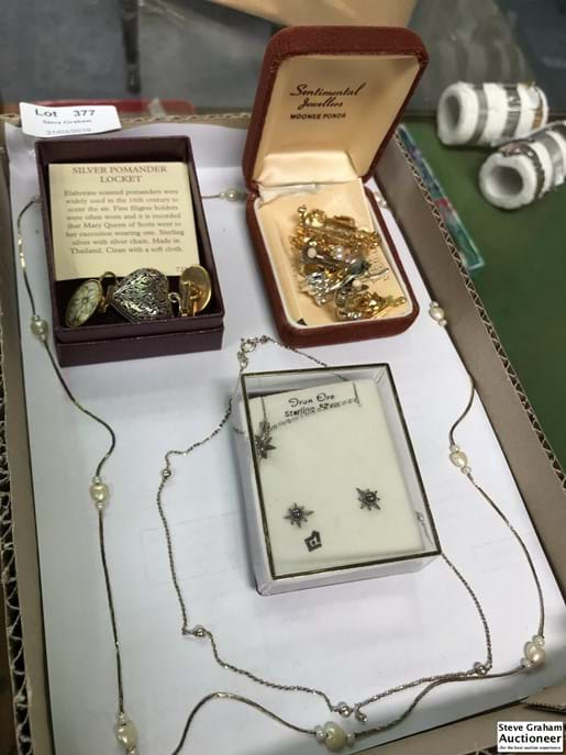 LOT 377	~	Tray of Asstd Brooches, Necklaces, Locket