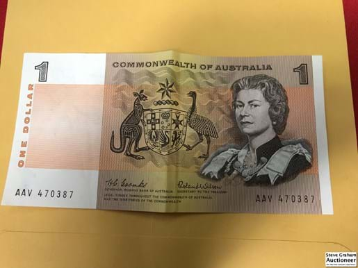 LOT 316	~	1966 Commonwealth of Australia $1 Paper Note signed Coombs / Wilson AAV470387