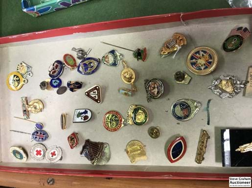 LOT 380	~	Tray of Enamel Badges, Pins, Medallions etc