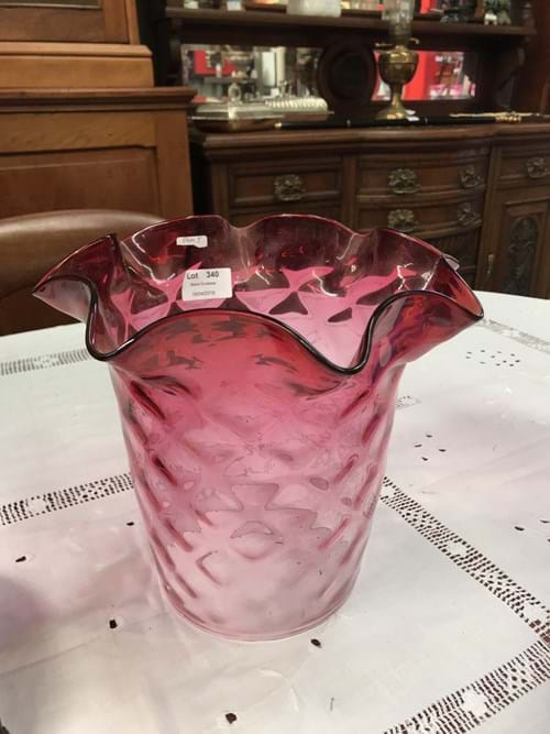 LOT 340	~	Victorian Glass Hanging Lamp Shade