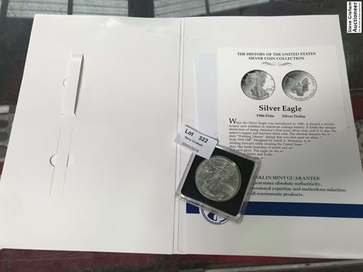 LOT 322	~	1996 US Silver Dollar - Mint Uncirculated