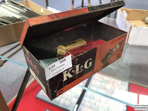 LOT 388	~	KLG Tin with Vintage Mower Parts & Packaging