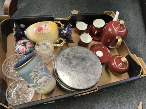 LOT 348	~	Box of Tea Set, Crystal, Vases etc