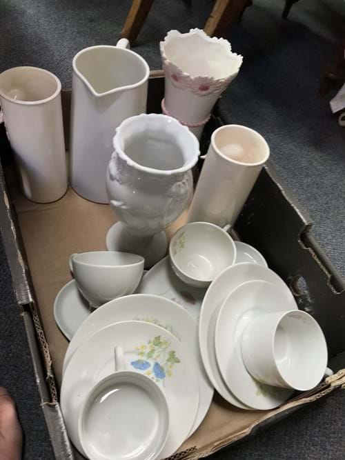 LOT 354	~	Box of China Vases, Jugs etc