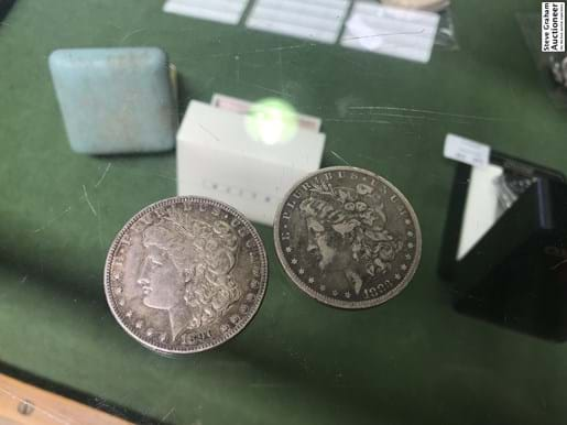LOT 334	~	1883 & 1890 US Silver Dollar Coins (2)