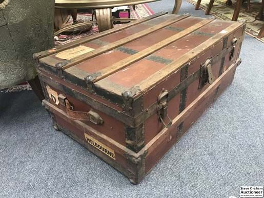 LOT 345	~	Early 1900's British Steamer Trunk w/ labels