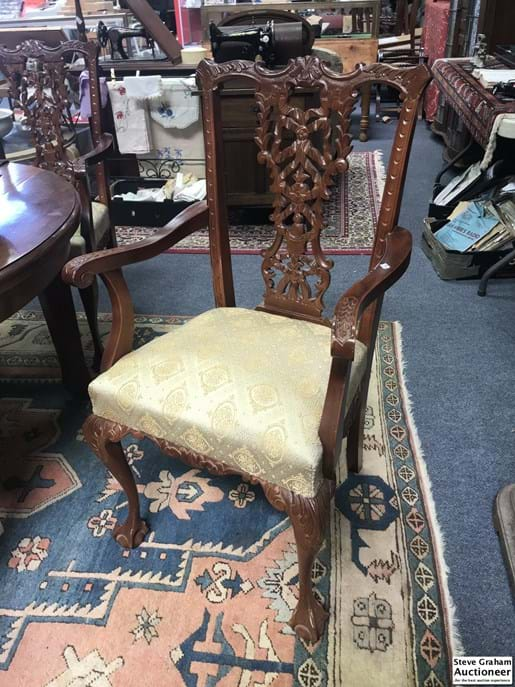 LOT 363	~	6 Ornately Carved Dining Table Arm Chairs