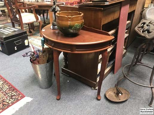 LOT 369	~	Half Round Hall Table - with Drawer