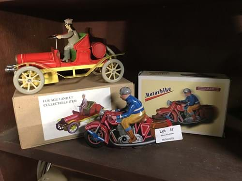 LOT 47	~	Tinplate Reproduction Motorcycle with Rider & Vintage Car with Driver