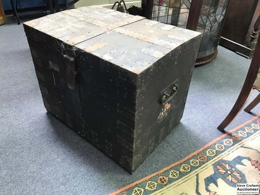 LOT 378	~	Large Metal Bound Timber Travelling Trunk
