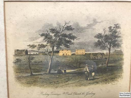 LOT 385	~	1800's Coloured Steel Engraving by S T Gill & J Tingle 'Railway Terminus St Pauls Church Geelong'