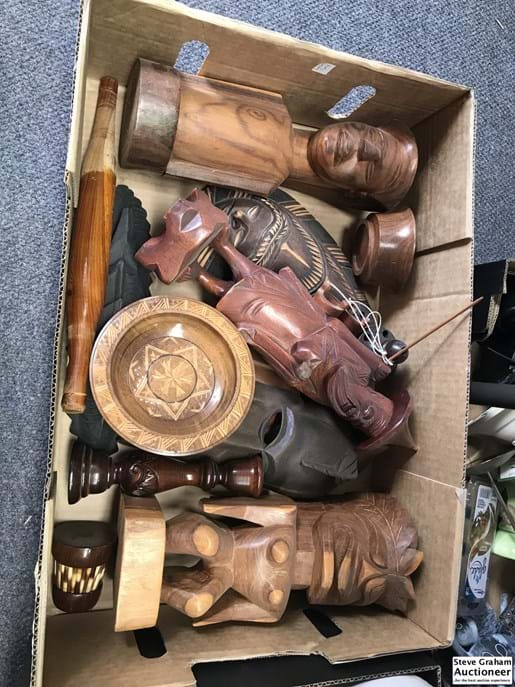 LOT 406	~	Box of Carved Timber Figures