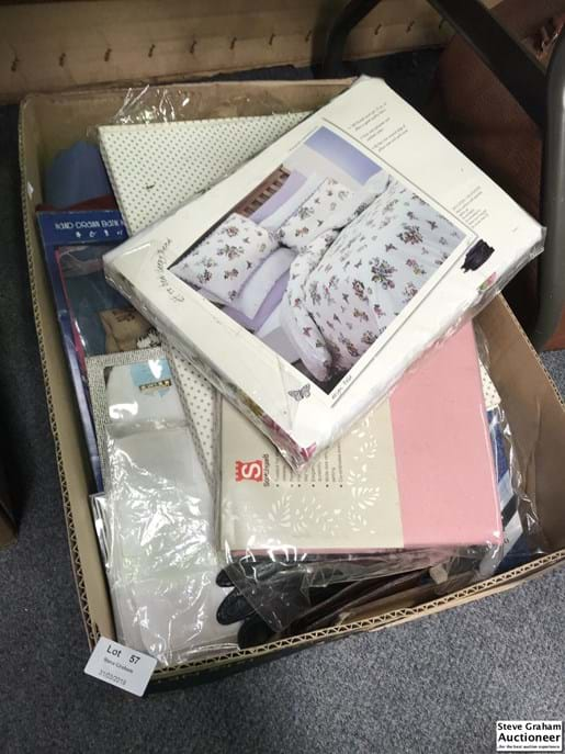 LOT 57	~	Box of Table Cloths & Runners, Quilt Covers