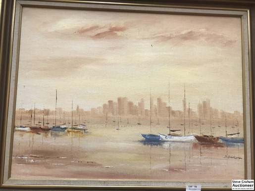 LOT 52	~	Oil Painting Across The Bay, By Dorothy M Graham w Provenance