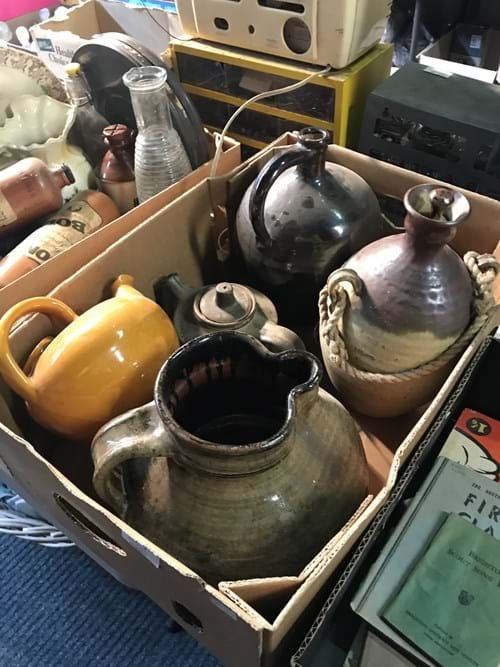 LOT 7	~	Box of Pottery Jugs, Bottles, Teapots