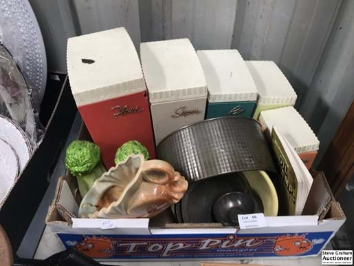 LOT 66	~	Box of Retro Kitchenware incl Canisters
