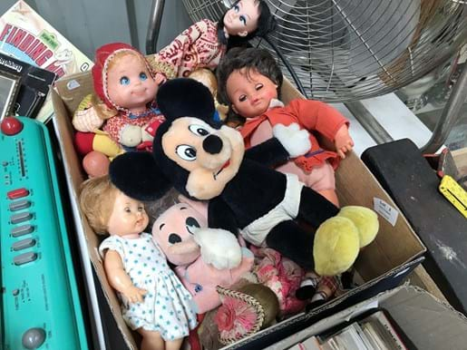LOT 2	~	Box of Old Dolls, Soft Toys