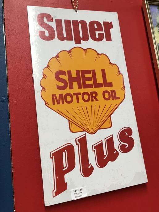LOT 11	~	Shell Plus Motor Oil Tin Sign - Reproduction