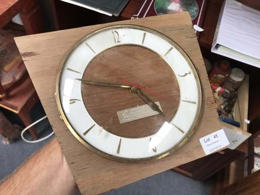 LOT 45	~	Retro Wall Clock (Battery Operated) Clock With Presentation Plaque.