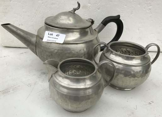 LOT 47	~	Cameo Hand Beaten Pewter 3pce Tea Service
