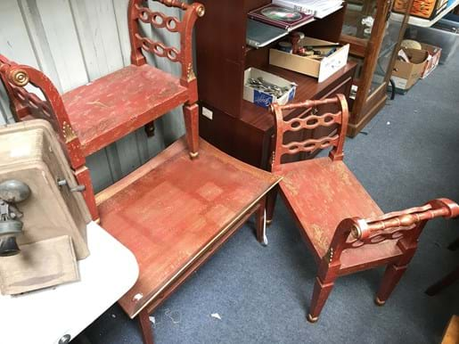 LOT 54	~	Asian Style Occasional Table & 2 Matching Stools
