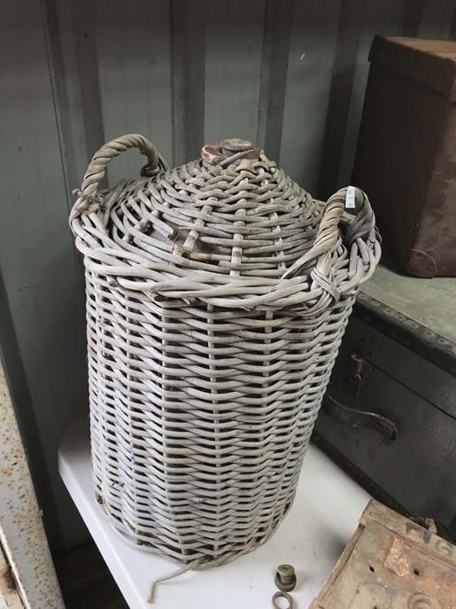 LOT 67	~	Large Antique Stoneware Bottle in Wicker Carry Basket