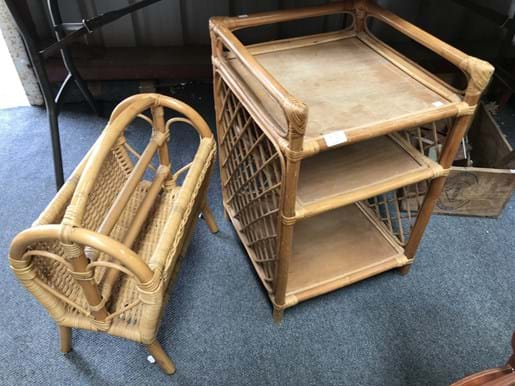 LOT 70	~	Cane Side Table & Magazine Rack