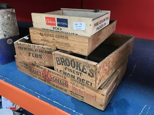 LOT 73	~	5 Vintage Small Timber Boxes