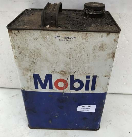 LOT 76	~	Mobil One Gallon Tin with Contents & Pegusus Logo