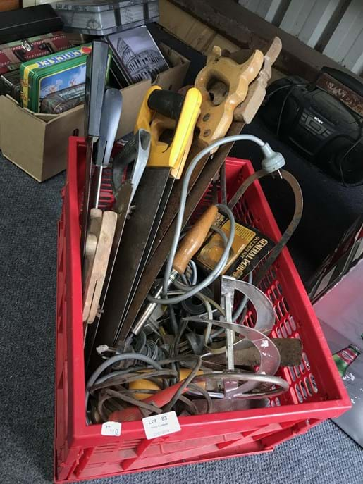 LOT 83	~	Crate of Hand Saws, Trowels, Soldering Irons & Asstd Tools