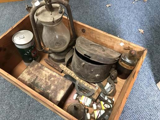 LOT 85	~	Timber Box of Collectables inc VB Big Mother, Hurricane Lamp