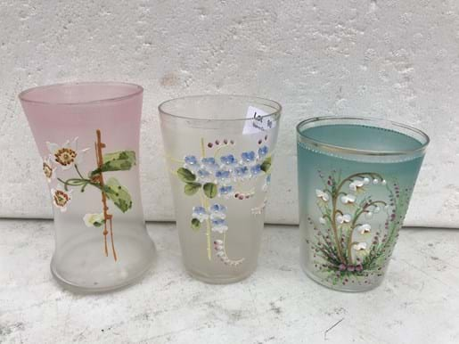 LOT 90	~	3 Victorian Hand Enamelled Floral Glasses
