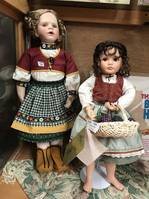 LOT 128	~	2 Porcelain Dolls incl Maria from the Old Country