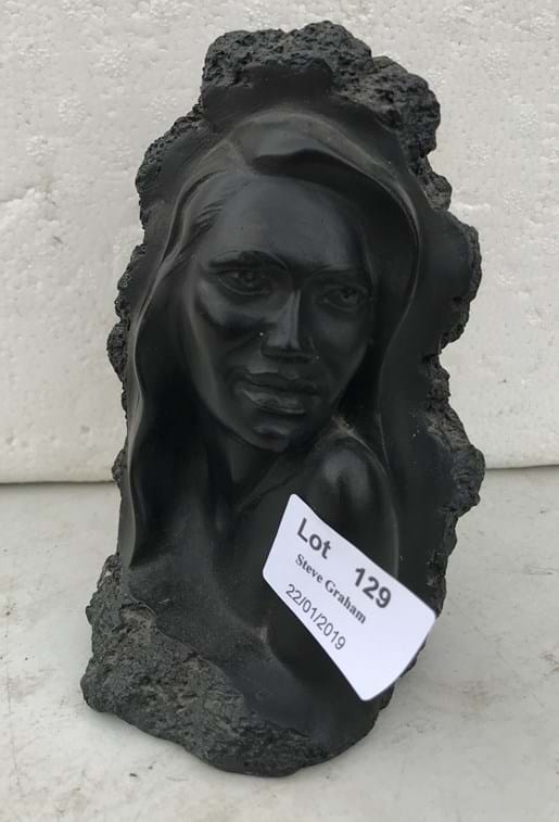 LOT 129	~	Loke Rose Bust Carved From Lava by CoCo Joe